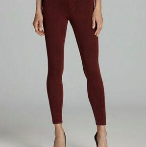 HUE burgundy wine denim essential leggings